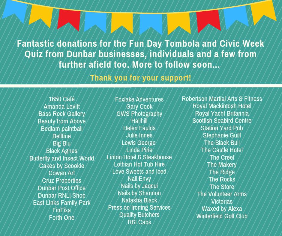 Civic Week Tombola – Great Prizes! – Dunbar Civic Week